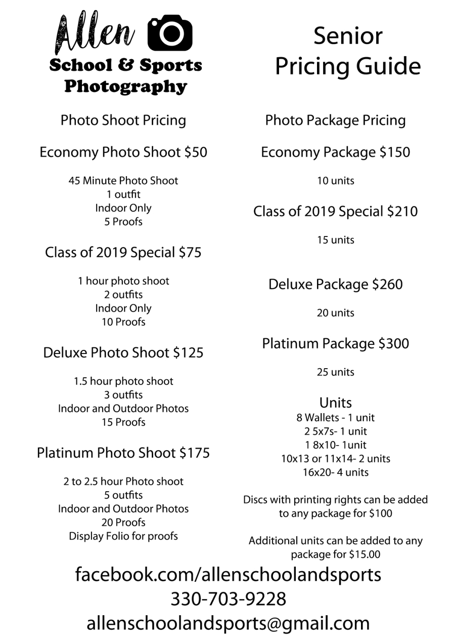 Senior Photography Packages And Pricing Allen School And